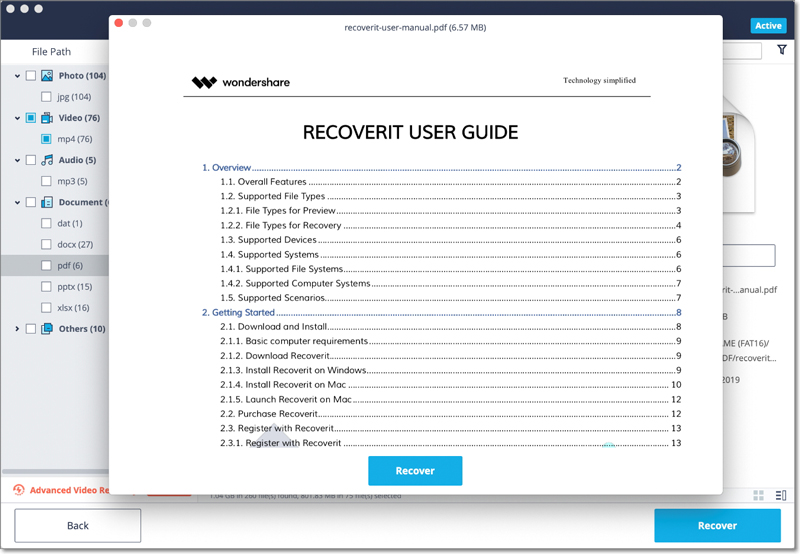 recover PDF files on Mac