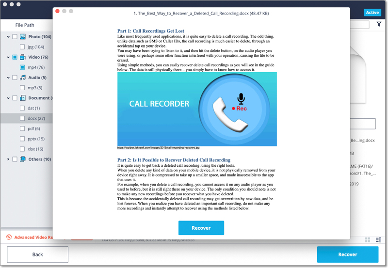 preview and recover Mac keynote file