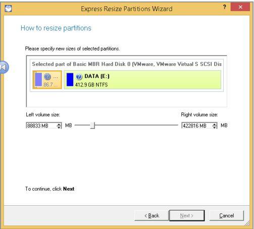Redimensionner la partition avec Paragon Partition Master étape 2