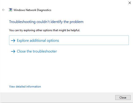 étapes ne peut pas connecter à Internet dans Windows 10