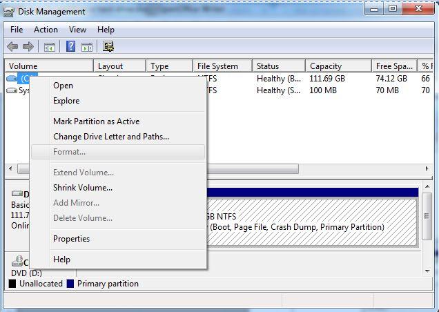 étape 3 format du disque dur