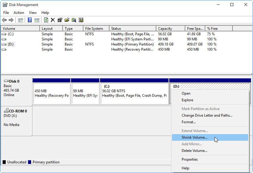 étape 2 partition de disque dur