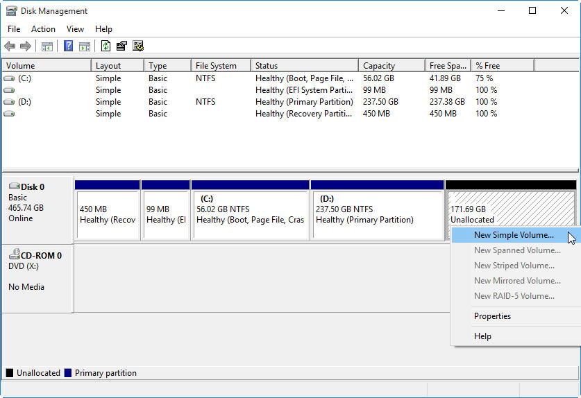 étape 4 partition de disque dur