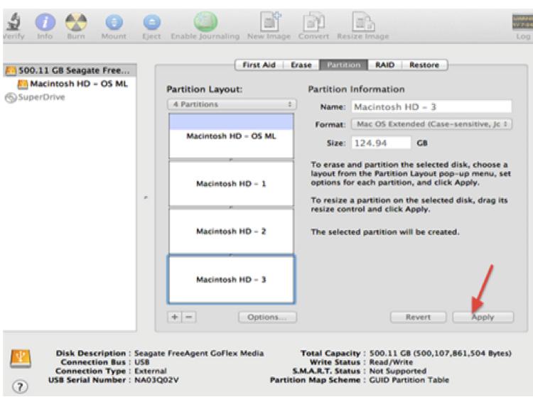 partition de disque dur sur Mac étape 4