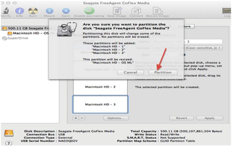 partition de disque dur sur Mac étape 5