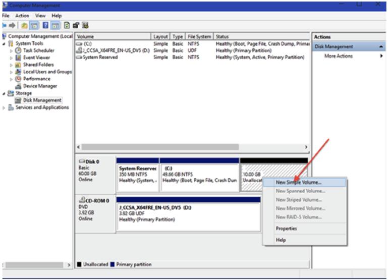partition de disque dur avec de l'outil de gestion de l'ordinateur étape 5