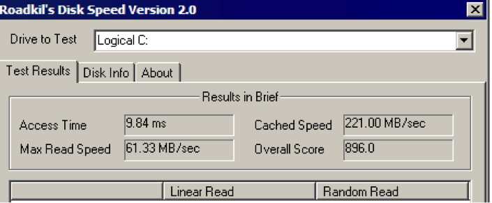 Test Hard Disk speed - RoadKil Speed test