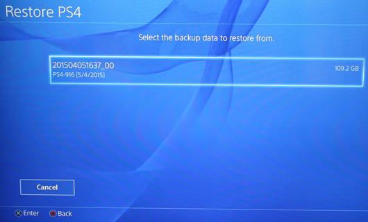 restauration de sauvegarde de disque dur ps4
